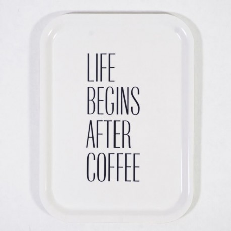 "Bricka ""Life begins after coffee"""
