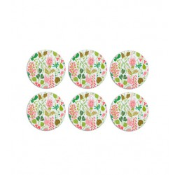 Glasunderlägg Herbarium  3 rosa, 6 pack