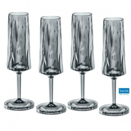CLUB NO. 5 Champagneglas 4-pack 100 ml, transparent grå