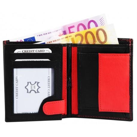 Läderplånbok svart och röd