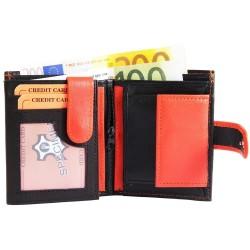 Läderplånbok svart och orange
