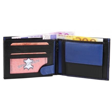 Läderplånbok svart och blå