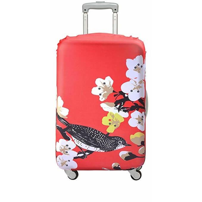 Ett fint överdrag med blommig Dahlia. Överdrag till din resväska