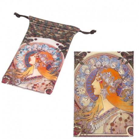 Set med glasögonpåse och putsduk, Art Noveau Zodiak