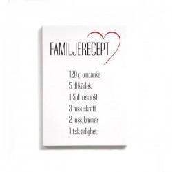 """Trätavla """"Familjerecept"""""""