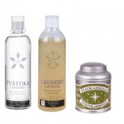 Komplett set Laundry lavendel, Tvättika lavendel och Städ & tvättkarbonat original