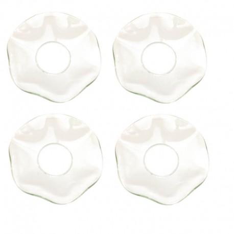 Ljusmanschetter 4-pack vågiga i klart glas
