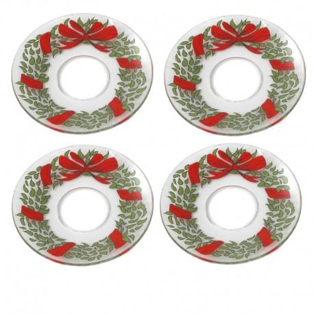 Ljusmanschetter 4-pack glas jul
