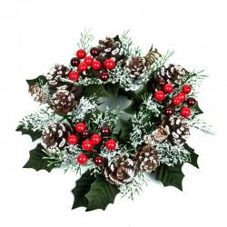 Ljusmanschett blockljus jul, med röda bär kottar och snöglitter