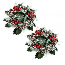 Ljusmanschetter 2-pack blockljus jul, med röda bär kottar och snöglitter