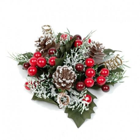 Ljusmanschett jul, med röda bär kottar och snöglitter