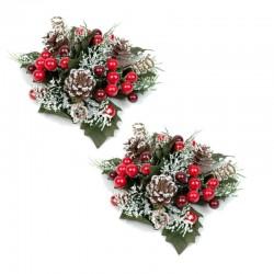 Ljusmanschetter 2-pack jul, med röda bär kottar och snöglitter