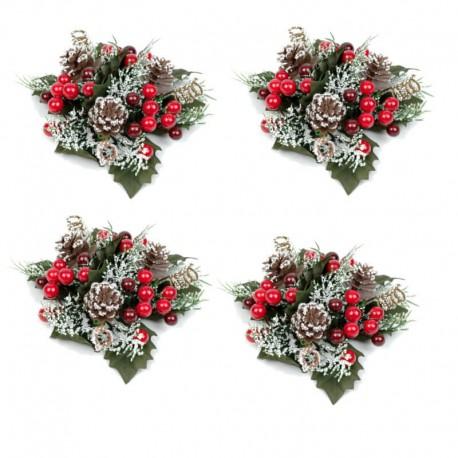 Ljusmanschetter 4-pack jul, med röda bär kottar och snöglitter