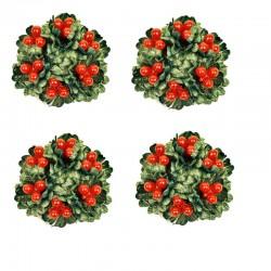 Ljusmanschetter 4-pack jul med röda bär