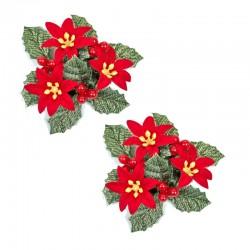 Ljusmanschetter 2-pack jul röda blommor