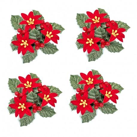 Ljusmanschetter 4-pack jul röda blommor