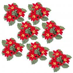 Ljusmanschetter 7-pack jul röda blommor