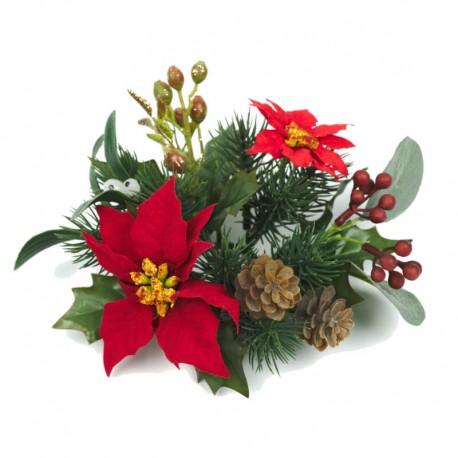 Ljusmanschett jul med röda blommor