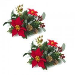 Ljusmanschetter 2-pack jul med röda blommor