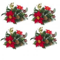 Ljusmanschetter 4-pack jul med röda blommor