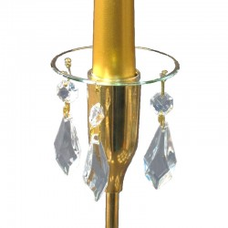 Ljusmanschett glas med guldfärgat kant och prismor