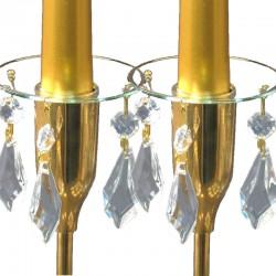 Ljusmanschetter glas 2-pack med guldfärgad kant och prismor