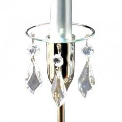 Ljusmanschett glas med silverfärgad kant och prismor