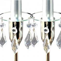 Ljusmanschetter 2-pack glas med silverfärgad kant och prismor