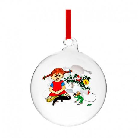 Pippi Långstrump julkula i glas