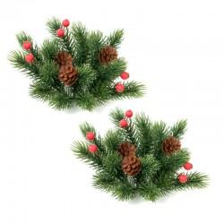 Ljusmanschetter 2-pack jul, med röda bär, tall kottar och kvistar