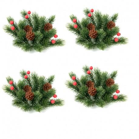 Ljusmanschett jul, med röda bär, tall kottar och kvistar