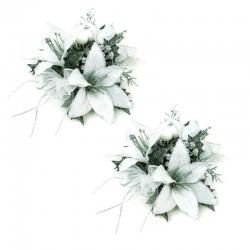Ljusmanschetter 2-pack Liljor vit och silver