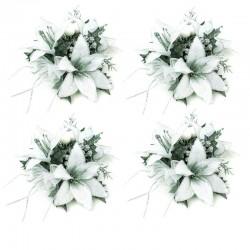 Ljusmanschetter 4-pack Liljor vit och silver