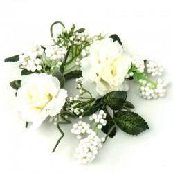 Ljusmanschett med vita rosor