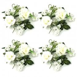 Ljusmanschetter 4-pack med vita rosor