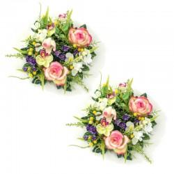 Ljusmanschett med rosor och orkidé för blockljus