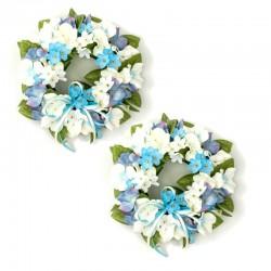 Ljusmanschett för blockljus med blå och vita hortensiablommor