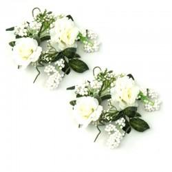 Ljusmanschetter 2-pack med vita rosor