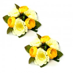 Ljusmanschett med vita och gula anemoner