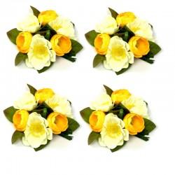 4-pack Ljusmanschett med gula anemoner