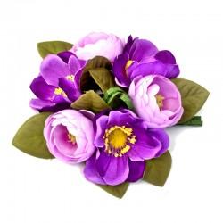 Ljusmanschett med lila anemoner