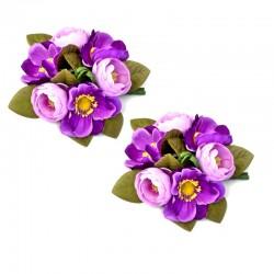 2-pack Ljusmanschetter med lila anemoner