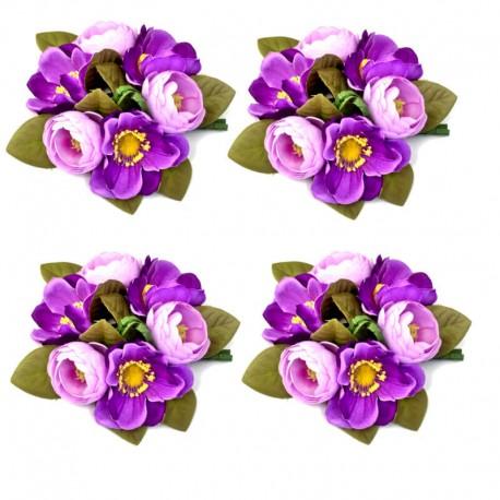 4-pack Ljusmanschetter med lila anemoner