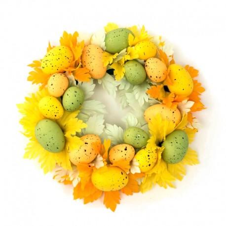 Ljusmanschett för blockljus med gula och gröna ägg