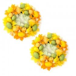 2-pack Ljusmanschetter för blockljus med gula och gröna ägg