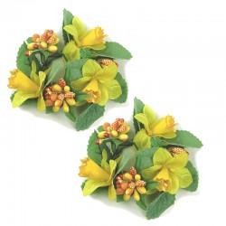 2-pack Ljusmanschetter med gula påskliljor