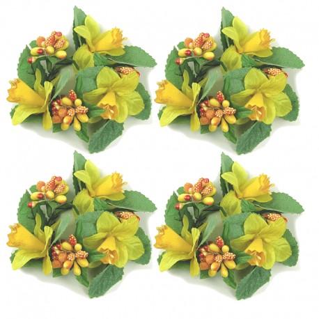 4-pack Ljusmanschetter med gula påskliljor