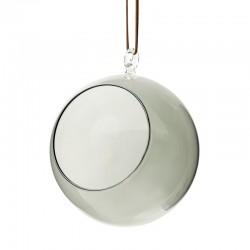 Glaskula 12 cm i diameter grått glas