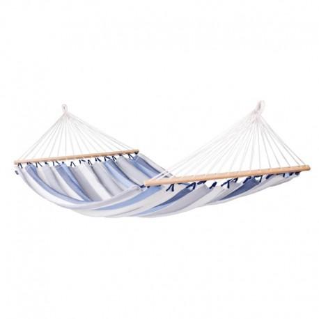 Vädertålig dubbel hängmatta med träkarmar. Alisio Sea Salt
