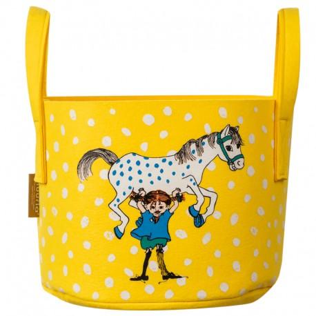 Pippi förvaringskorg Pippi och hästen, gul 17 liter